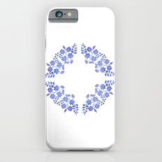 Round floral blue iPhone 6s Slim Case