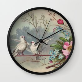 Vintage White Forest Birds Wall Clock