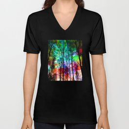 colorful abstract forest Unisex V-Neck