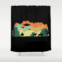 aliens Shower Curtains featuring Cowboys & Aliens by kamonkey