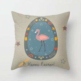 Festive Easter Egg with Cute Flamingo Bird Throw Pillow
