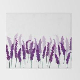 Lavender Field   Purple Flowers in Watercolor Throw Blanket