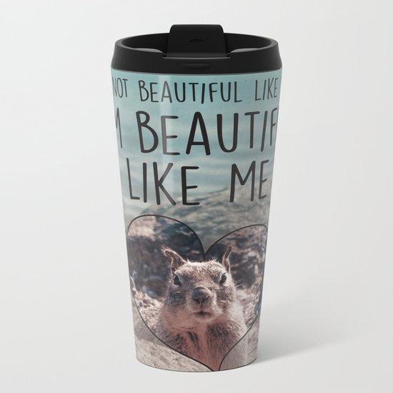 Proud Squirrel Sunbathing at the Lake Metal Travel Mug