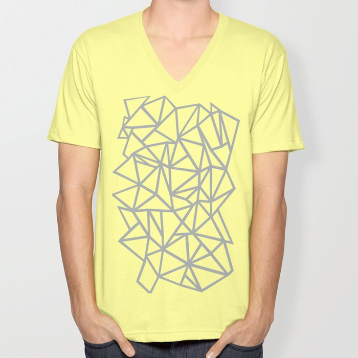 02928fbdc3b3 Abstract Outline Thick White on Grey Unisex V-Neck by projectm | Society6