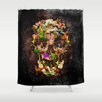 animal skull Shower Curtains featuring Floral Flower animal skull kingdom by KomarWork