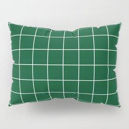 Grid Pattern Forest Green White 014421 Stripe Line Minimal Stripes Lines Pillow Sham