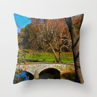 battlefield Throw Pillows featuring Burnside Bridge Antietam Battlefield by Biff Rendar