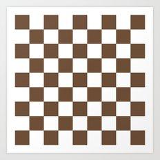 Checker (Coffee/White) Art Print