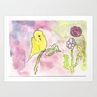 Yellow Bird Watercolor and Ink Art Print