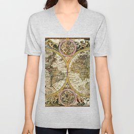 Gorgeous Old World Map Art from 15th Century Unisex V-Neck