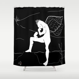 the thinking angel Shower Curtain