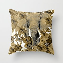 ELEPHANT RUSTIC DRAGONFLY  Throw Pillow
