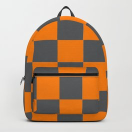 Orange and Smokey Grey Checker Pattern Backpack