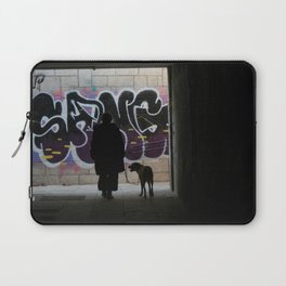 Woman and dog, graffiti Laptop Sleeve