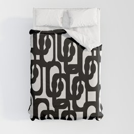 Black and White Mid-century Modern Loop Pattern Duvet Cover