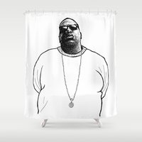 biggie Shower Curtains featuring Biggie Drawing by Illusive4real