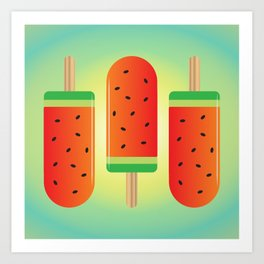 Watermelon Ice Lollies Art Print