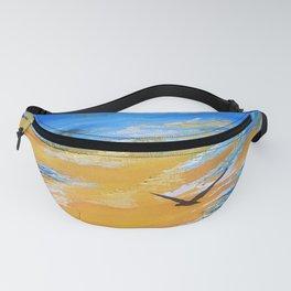 ocean sunset, original oil painting landscape, blue wall art, beach decor Fanny Pack
