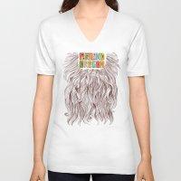 portland V-neck T-shirts featuring Portland = Beards by Rachel Caldwell