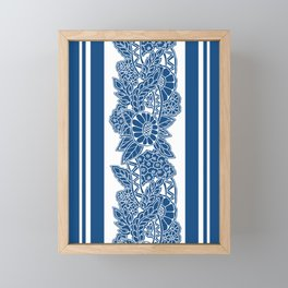 Blue stripes and abstract flowers Framed Mini Art Print