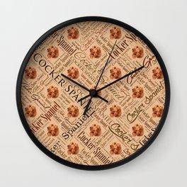 Cocker Spaniel Word Art Wall Clock