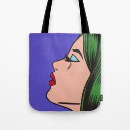 Green Hair Pop Art Girl Tote Bag