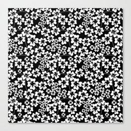 Floral black and white pattern Canvas Print