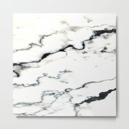 Smoky Whispers Black and White Marble Design Metal Print