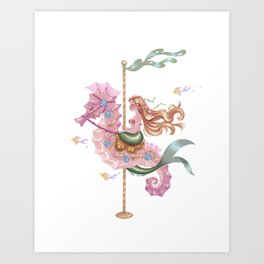 Mermaid Carousel - The Seahorse Art Print