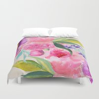 craftberrybush Duvet Covers featuring Floral white  by craftberrybush
