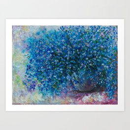 Bouquet Of Forget Me Nots by Lena Owens Art Print