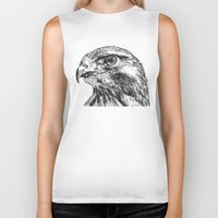 hawk Biker Tanks featuring Hawk by Emma Dowling