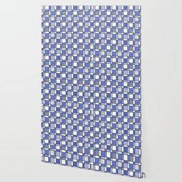 Blue Hue Checkers Wallpaper
