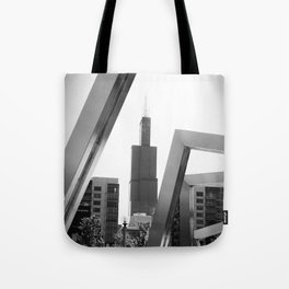 Sears Tower Sculpture Chicago Illinois Black and White Photo Tote Bag