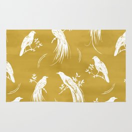 Birds of paradise mustard/white Rug