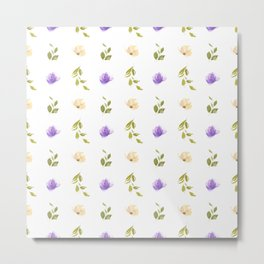 Abstract purple green ivory watercolor floral stripes pattern Metal Print