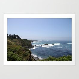 Crashing Waves On California Coastline Art Print