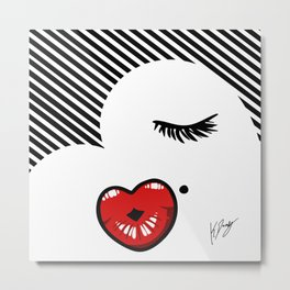 Pucker Kissy Glamour Lips Metal Print