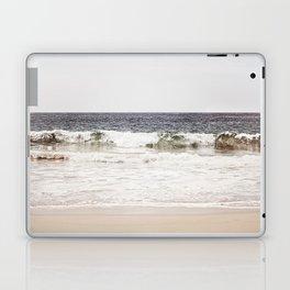 Neutral Ocean Landscape Photography, Grey Seascape Art, Gray Sea Beach Photo, Coastal Print Laptop & iPad Skin