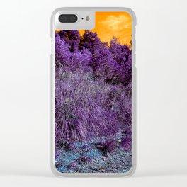 Not home planet alien landscape indigo purple orange surreallist Clear iPhone Case