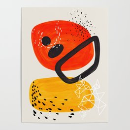 Fun Mid Century Modern Abstract Minimalist Vintage Orange Yellow Orbit Bubbles Poster