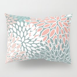Floral Prints, Teal and Coral, Abstract Art Pillow Sham