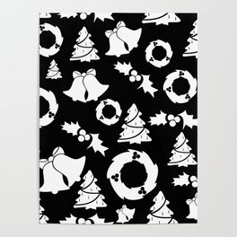 Classic Christmas in Black and White Poster