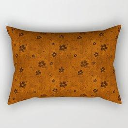 Burnt Orange Grunge Flowers and Hearts Pattern Gift Ideas Rectangular Pillow