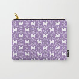 Chihuahua long haired lilac and white floral silhouette pattern dog breed art Carry-All Pouch