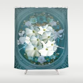 Fabulous Teal White Flowers Stained Glass Shower Curtain