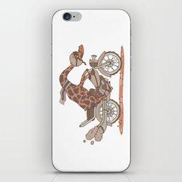 Giraffe on a motorbike iPhone Skin