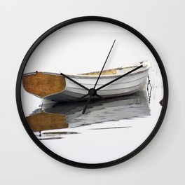 White Boat on a Misty Morning Wall Clock
