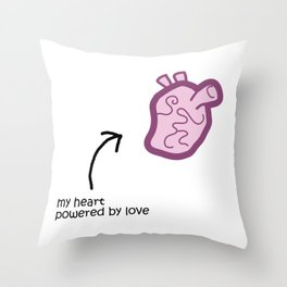 Powered by Love Throw Pillow