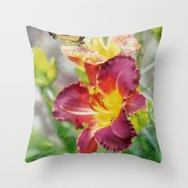Butterfly On Lily Throw Pillow